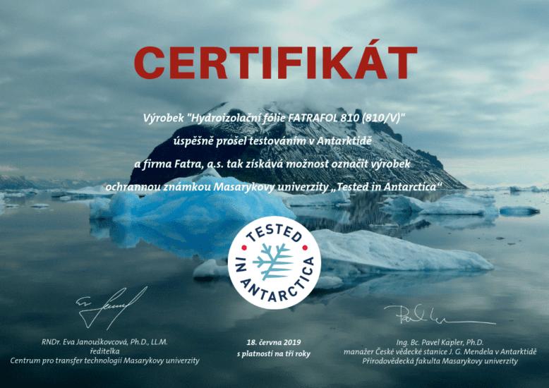 """Fólie FATRAFOL získala certifikát """"Testováno v Antarktidě"""""""